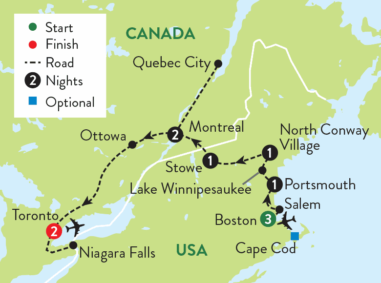 Map Of New England And Quebec.New England And Canada In The Fall Door2tour Com